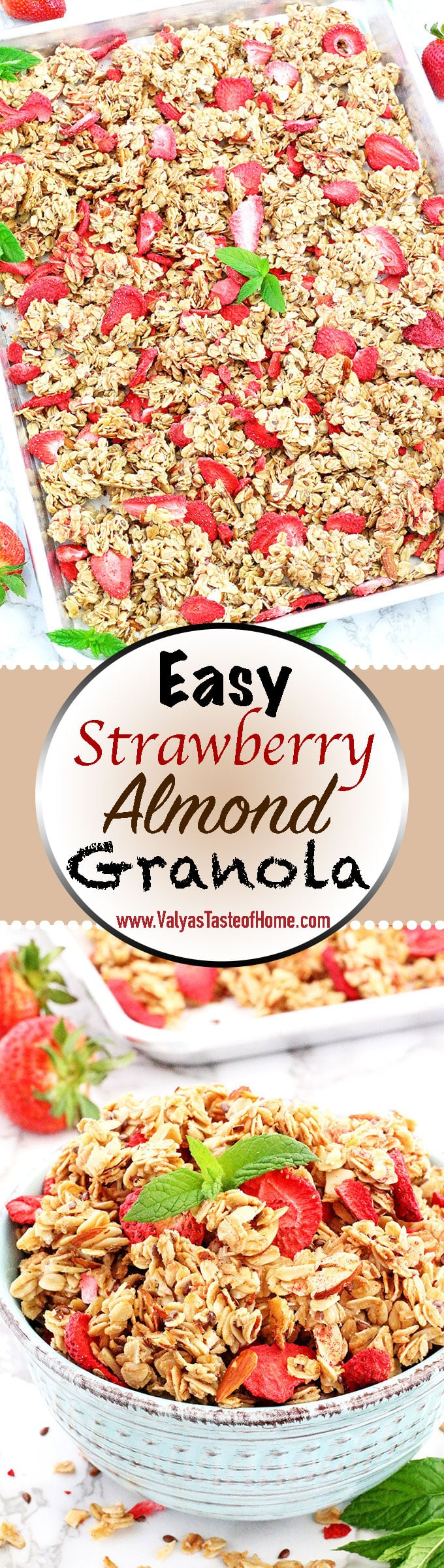 The title says it all! This Easy Strawberry Almond Granola Recipe is truly super easy and quick to make! It's so much healthier, cleaner, and tastier when made at home than a store bought. But seriously, what is there not to love about this granola when almonds and strawberries pair so well together! ;)