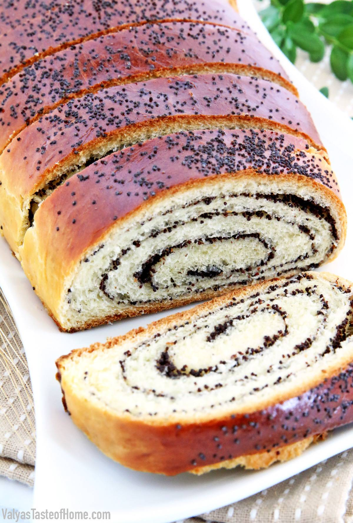 Finally, I'm sharing an age-old Easy Poppy Seed Roll Recipe that never gets old. This is a very special traditional recipe that has been handed down in my family for more years than I can even trace back. Pillow-soft, moist, and so flavorsome. Words even fail to describe how scrumptious it is. #macowiec #poppyseedroll #sweetyeastbread #valyastasteofhome