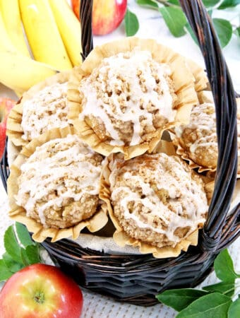These Glazed Apple Banana​ Crumb Muffins are super moist, flavorful, and absolutely delicious. Loaded with bananas and apples and crowned with a crunchy cinnamon-sugar crumb topping. And if that wasn't enough, drizzled with cinnamon vanilla glaze. #glazedapplebananacrumbmuffins #autumnbaking #easymuffins #valyastasteofhome