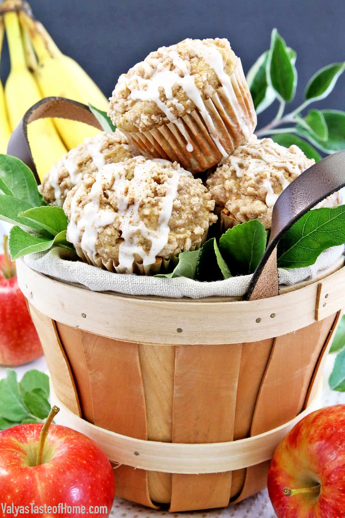 These Glazed Apple Banana Crumb Muffins are super moist, flavorful, and absolutely delicious. Loaded with bananas and apples and crowned with a crunchy cinnamon-sugar crumb topping. And if that wasn't enough, drizzled with cinnamon vanilla glaze. #glazedapplebananacrumbmuffins #autumnbaking #easymuffins #valyastasteofhome