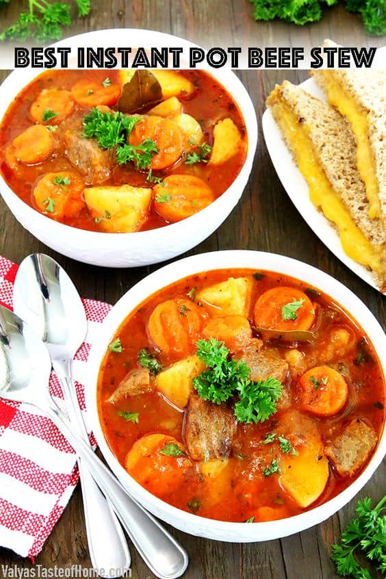 Fall is here, folks! And so is warm comfort food. What can be cozier, hearty, and comforting than a hot bowl of Best Instant Pot Beef Stew on a cold Fall season day to go along with broiled cheese sandwiches? This mouth-watering richness is delicious, savory and loaded with vegetables. #beefstew #instantpotbeefstew #thebestbeefstew #valyastasteofhome