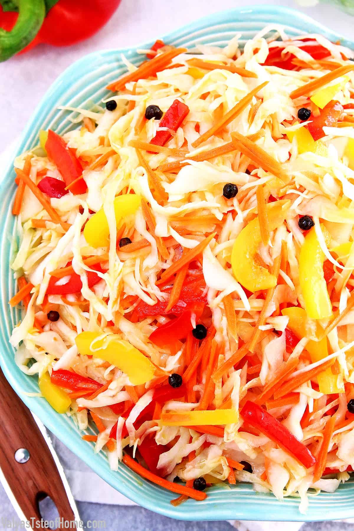 This Cabbage Carrots and Peppers Salad recipe is not one of those salads that you really taste the sharpness of fresh vegetables. It tastes more like a marinated salad and has a bit of a sweet and sour taste to it. The best thing I like about this salad is that you can make it ahead of time which helps avoid those last-minute preparation rushes.  #cabbagecarrotspepperssalad #marinatedsalad #easymarinatedvegetablesalad #valyastasteofhome