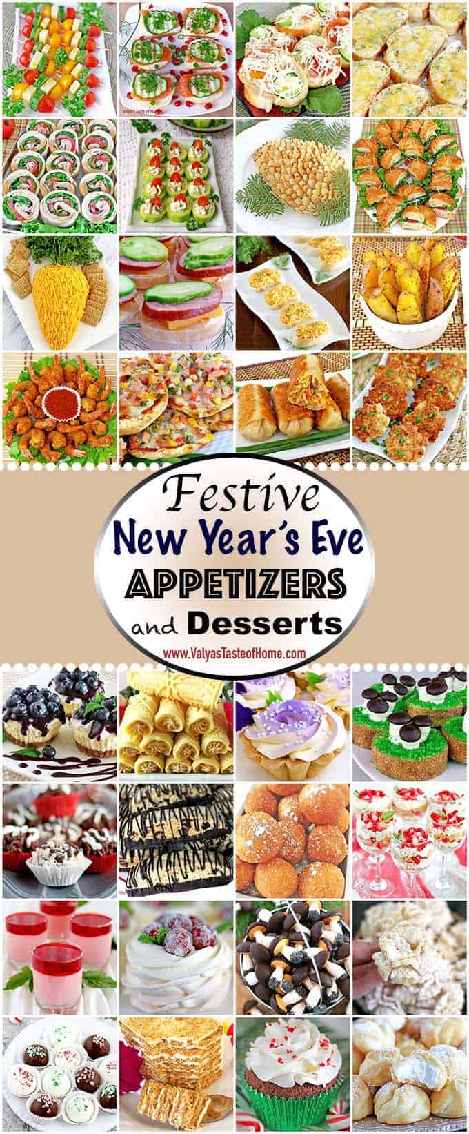 In today's Festive New Year's Appetizers and Desserts post, you will find a variety of different appetizers and single-serving dessert recipes pieced together to help ease your New Year's Eve party prep anxiety.