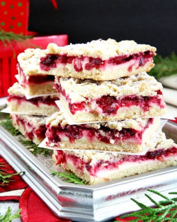 There's no treat like cranberries for Christmas! Couple that with sweet cream cheese and you've really got something delicious. Another great treat just in time for the Holidays. These Cream Cheese Cranberry Bars are very easy to make and are absolutely delightful! #cranberrybars #creamcheesecranberrybars #holidaybaking #valyastasteofhome