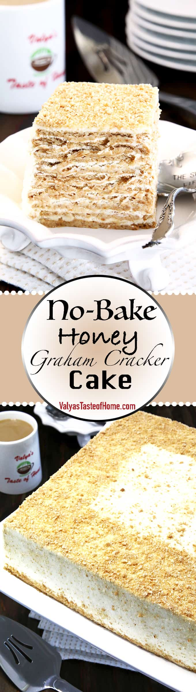 Sometimes we all need a bit of a break from the hot oven, right? Or maybe you're in a time crunch but need to produce a delicious dessert. Well, this No Bake Honey Graham Cracker Cake will come to your rescue! You ONLY need 3 ingredients! No baking required.