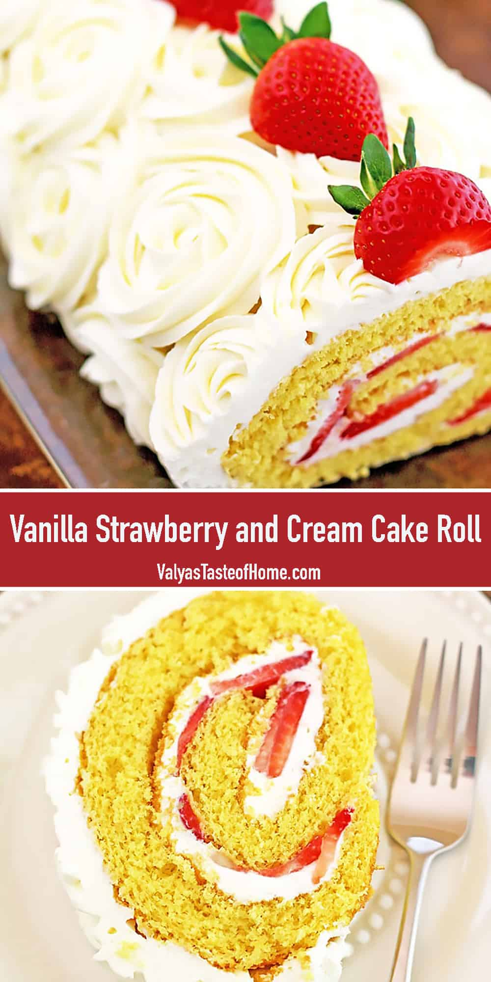 This amazing Vanilla Strawberry and Cream Cake Roll is soeasy to make but tastes incredible! Very close to strawberry shortcake andlooks absolutely stunning. Would you like to make a treat for mom on Mother'sDay? This delicious cake roll would make a wonderful dessert for this comingMother's Day! Make this delightful treat for your own mother and make her facebloom and shine with joy! She will adore it!