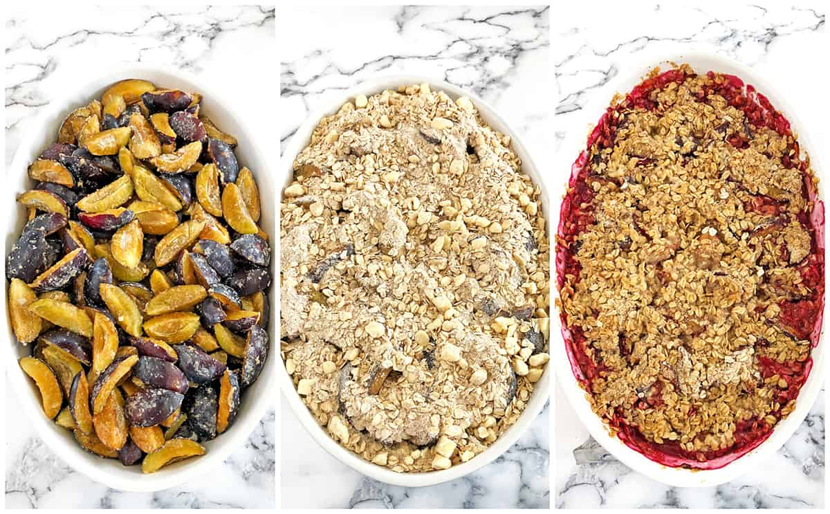 If your plum tree is overloaded with the fruit and you don't know what to do with them, try this recipe out! This is The Best Plum Crisp Recipe you'll ever taste! The crunchy and delicious oats topping is guaranteed to leave you wanting more.