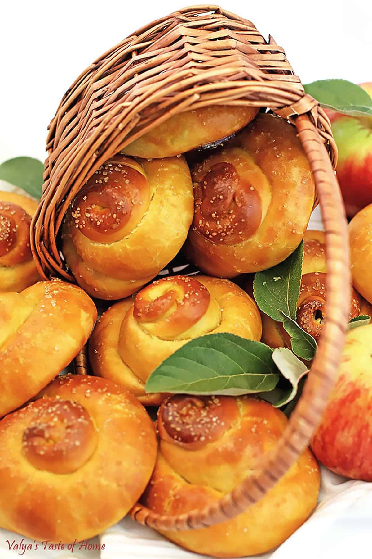 Ah, the sweet flavors of fall! These super-soft, Sweet Swirl Apple Buns are a wonderful comfort fall treat. The juicy grated apples make them incredibly moist, delicious, and irresistible! They look so beautiful and glossy after being brushed with the egg glaze and sprinkled with organic raw sugar. You just wanna eat them raw, like cookie dough! ;)