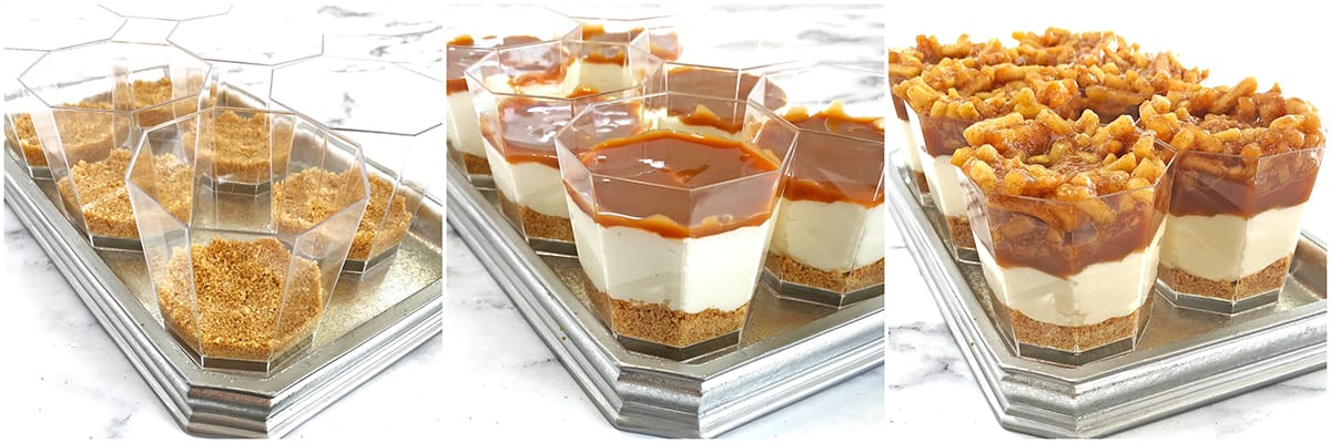 These No-Bake Caramel Apple Pie Cheesecake Parfaits are out of this world delicious! Layers of goodness: crushed buttery graham cracker crust, smooth and creamy cheesecake filling, tasty and rich organic caramel, slathered with fantastic homemade diced apple pie filling, and finally topped with whipped cream.