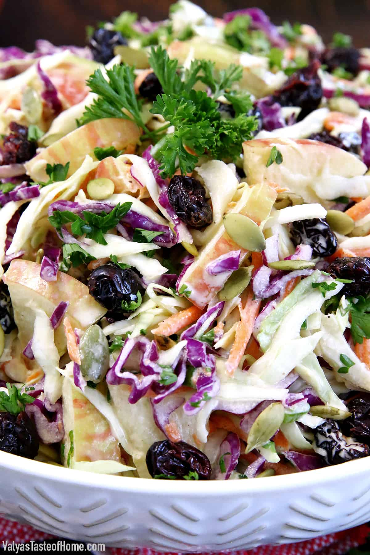 You've got the chops, my friend! This Easy Apple Cranberry Pumpkin Coleslaw Recipe is a must-have on your holiday table. There is nothing quite like a refreshing fresh and crunchy salad like this, bursting with tasty Fall flavors to accompany that scrumptious main dish on your plate.
