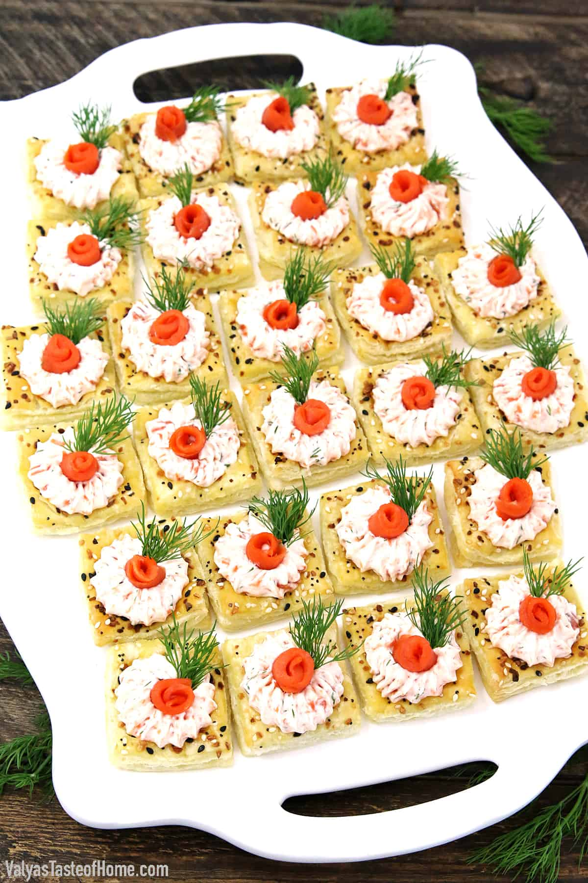 We are so used to sweet pastry treats, but did you know that savory pastry treats are just as delicious and popular? Today's recipe is  Easy Smoked Salmon Cream Cheese Pastry Appetizers, and my goodness are they delicious!