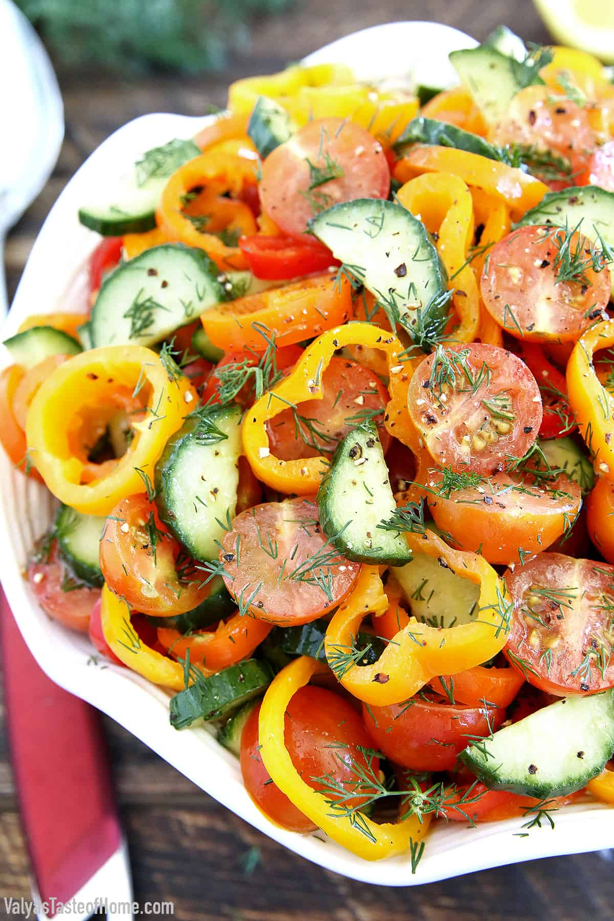 This Sweet Pepper Tomato Cucumber Salad is crunchy, soft, sharp, smooth, aromatic, and savory!