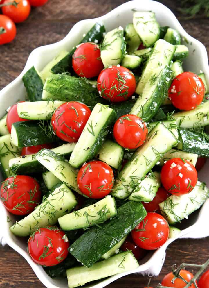 This Easy Cucumber and Tomato Salad is surprisingly simple for the extraordinary benefit it provides and complements a meal. It's naturally very