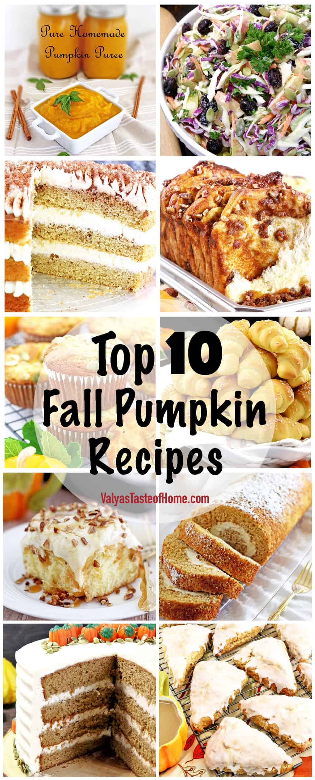 These are my favorite pumping goodies in one Top 10 Pumpkin Fall Recipes post that is perfect for upcoming holidays or any time you want your kitchen to smell like fall aroma of cinnamon, nutmeg, and pumpkin.